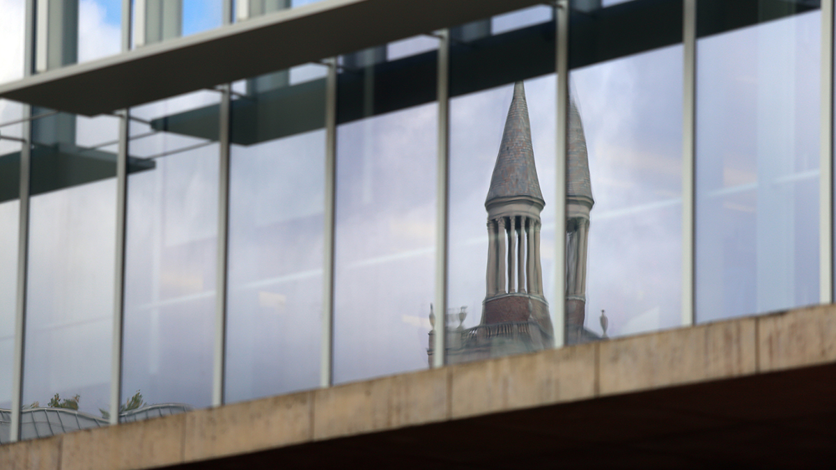 The reflection of the Bell Tower.