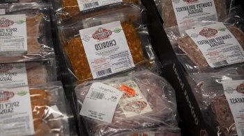 Packaged meat at a grocery store.