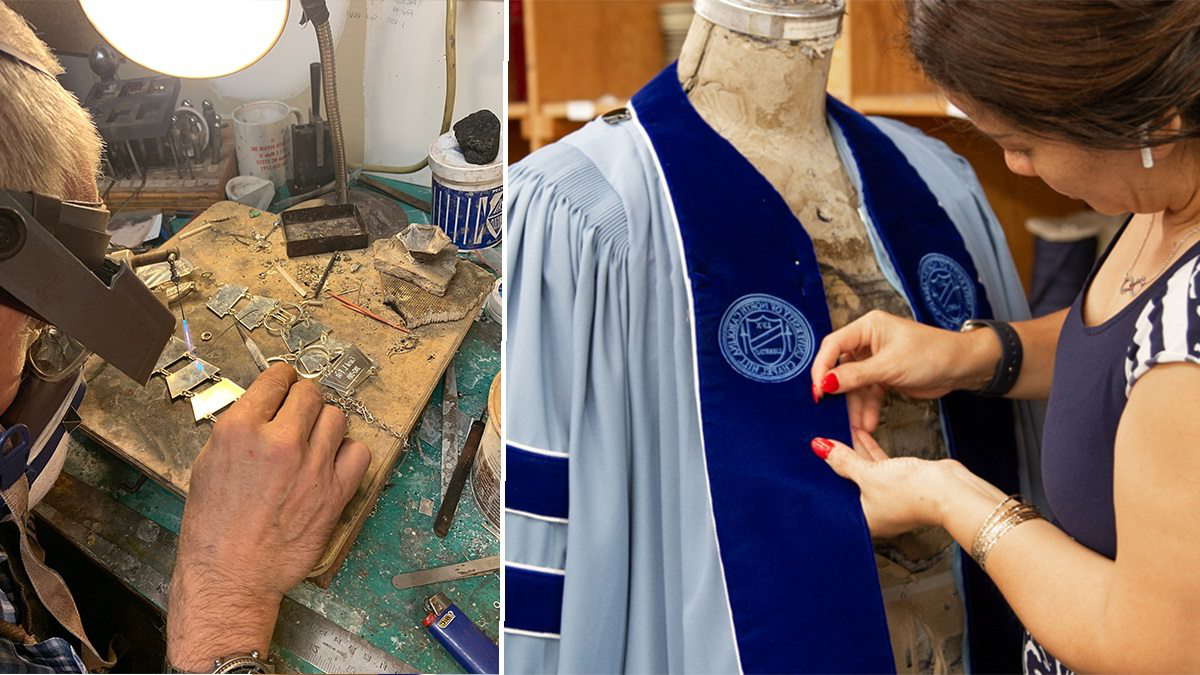 A women sews regalia and a silversmith engraves a medallion plate.